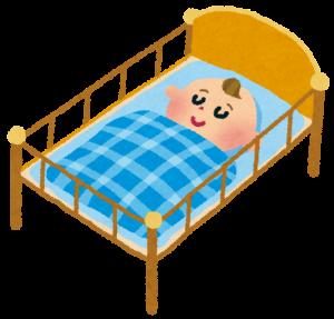 赤ちゃん用のベットで寝る