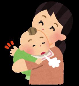 赤ちゃんをげっぷさせる母親