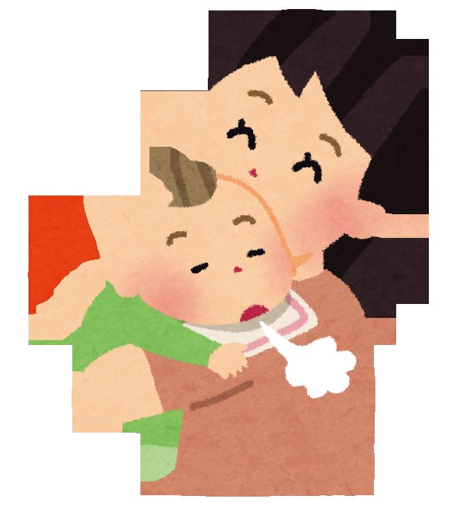 赤ちゃんをゲップさせる母親