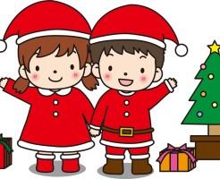 クリスマスにプレゼント交換をする子供
